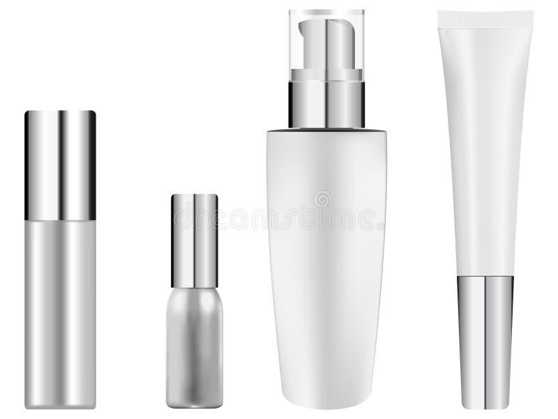 Bouteille réglée pour des cosmétiques Illustration réaliste de vecteur Reflétez les bouteilles blanches de base de couvercle sépa illustration de vecteur