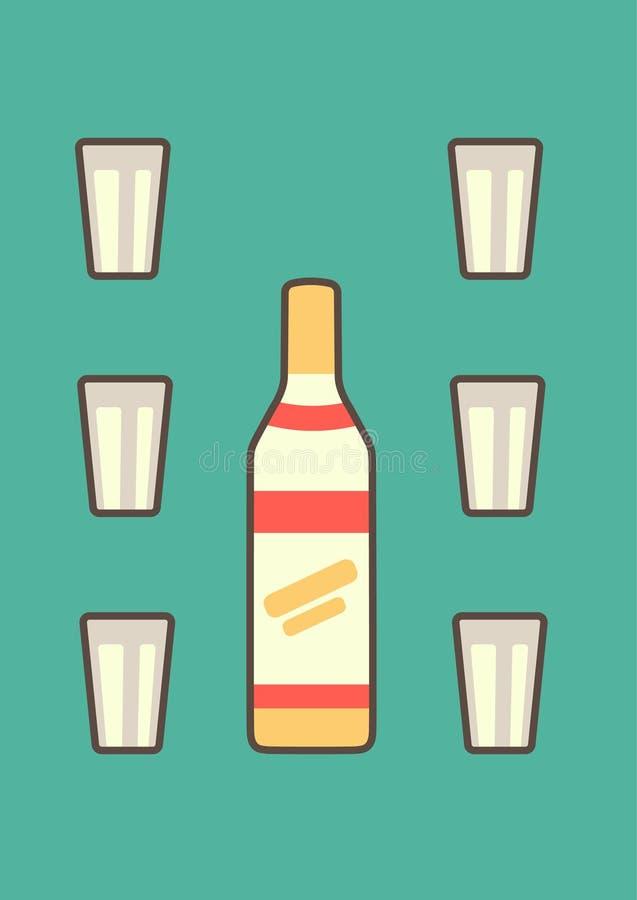 Bouteille russe classique de vodka décorée des verres facettés sur les graphiques de vecteur bleu-bleus de fond dans le style pla illustration de vecteur