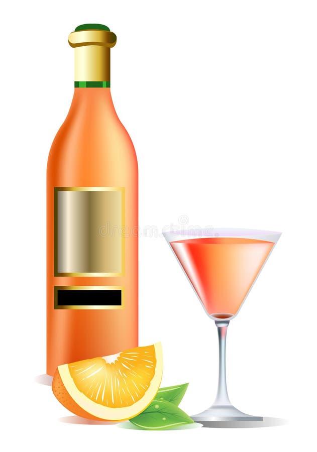 Bouteille sur le vin, l'orange et le cocktail illustration de vecteur