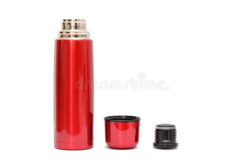 Bouteille thermo rouge photographie stock