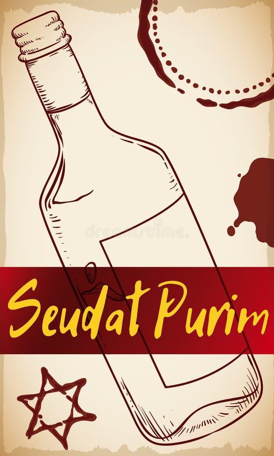 Bouteille tirée par la main avec quelques chopes en grès de vin pour Seudat Purim, illustration de vecteur illustration stock