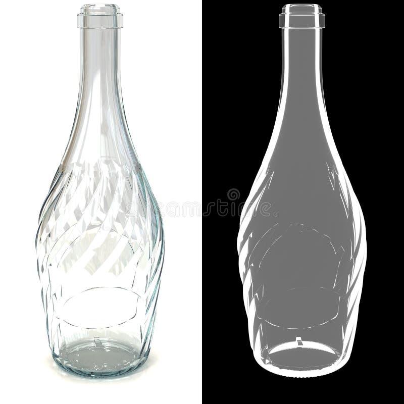 bouteille transparente en verre vide tordue illustration. Black Bedroom Furniture Sets. Home Design Ideas