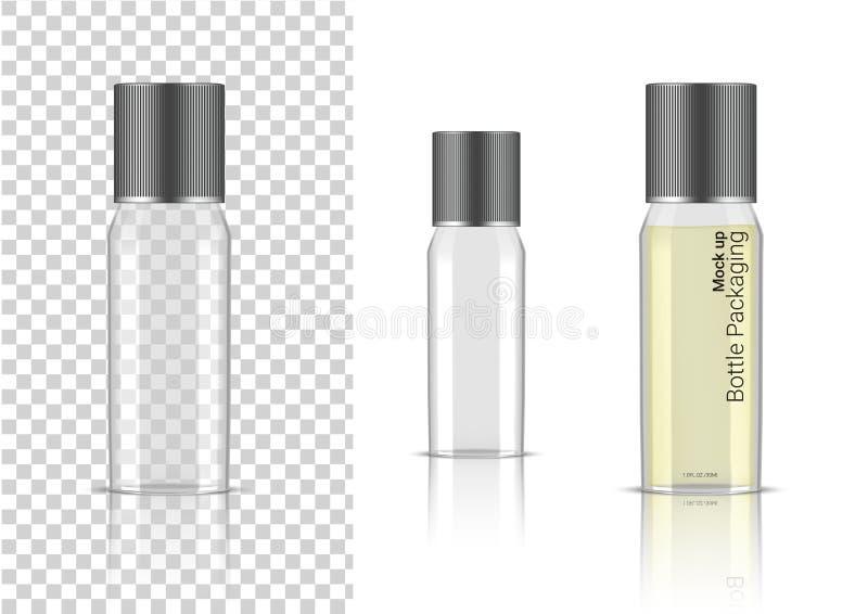 Bouteille transparente moquerie 3D vers le haut de cosmétique réaliste, de sérum d'huile, de parfum pour l'emballage de soins de  illustration libre de droits