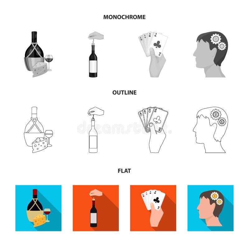 Bouteille, un verre de vin et fromage, obstruant avec un tire-bouchon et toute autre icône de Web dans l'appartement, contour, st illustration stock