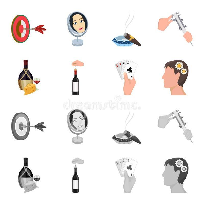 Bouteille, un verre de vin et fromage, obstruant avec un tire-bouchon et toute autre icône de Web dans la bande dessinée, style m illustration stock