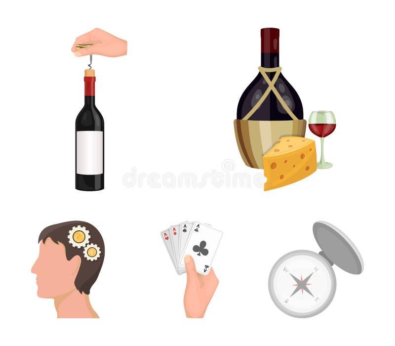 Bouteille, un verre de vin et fromage, obstruant avec un tire-bouchon et toute autre icône de Web dans le style de bande dessinée illustration stock