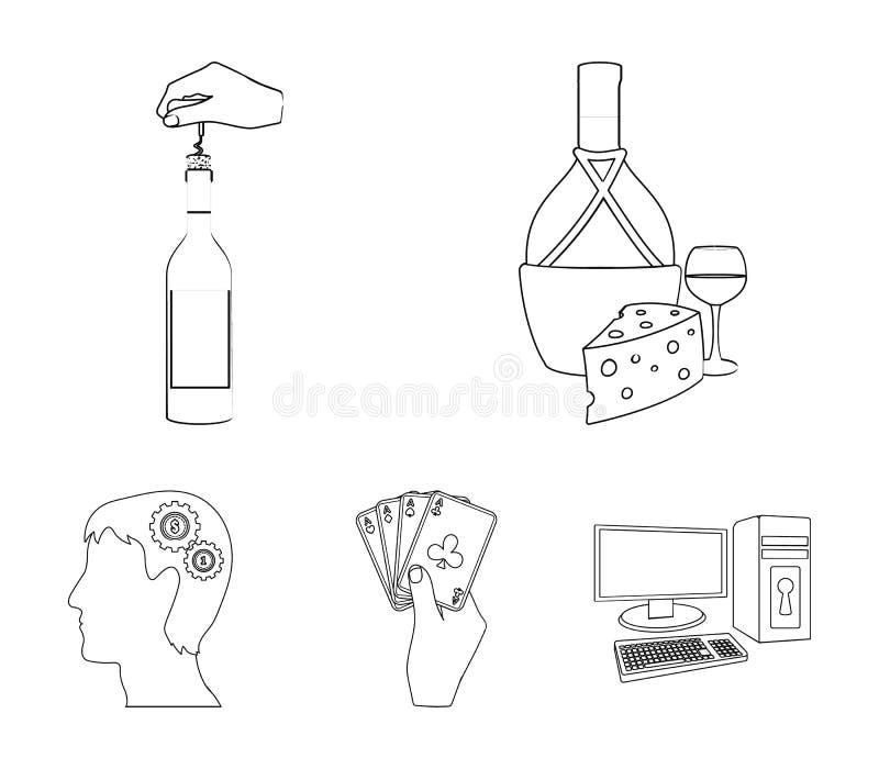 Bouteille, un verre de vin et fromage, obstruant avec un tire-bouchon et toute autre icône de Web dans le style d'ensemble Une co illustration de vecteur