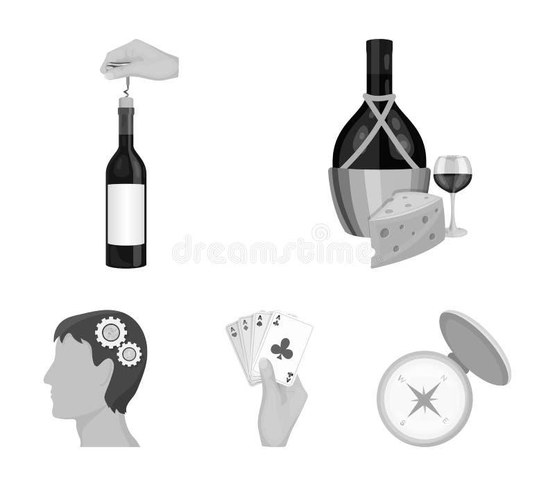 Bouteille, un verre de vin et fromage, obstruant avec un tire-bouchon et toute autre icône de Web dans le style monochrome Une co illustration libre de droits