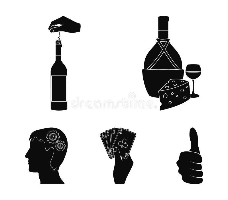 Bouteille, un verre de vin et fromage, obstruant avec un tire-bouchon et toute autre icône de Web dans le style noir Une combinai illustration stock