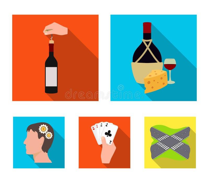 Bouteille, un verre de vin et fromage, obstruant avec un tire-bouchon et toute autre icône de Web dans le style plat Une combinai illustration libre de droits