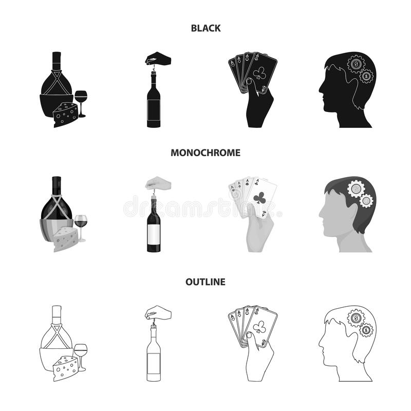 Bouteille, un verre de vin et fromage, obstruant avec un tire-bouchon et toute autre icône de Web dans noir, monochrome, style d' illustration de vecteur