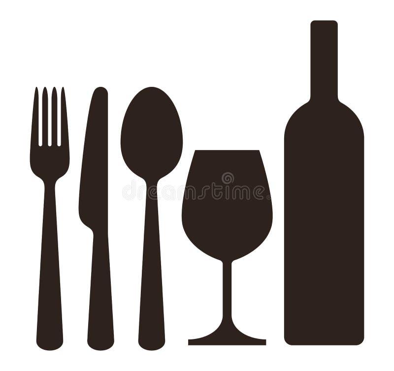 Bouteille, verre à vin, couteau, fourchette et cuillère illustration libre de droits