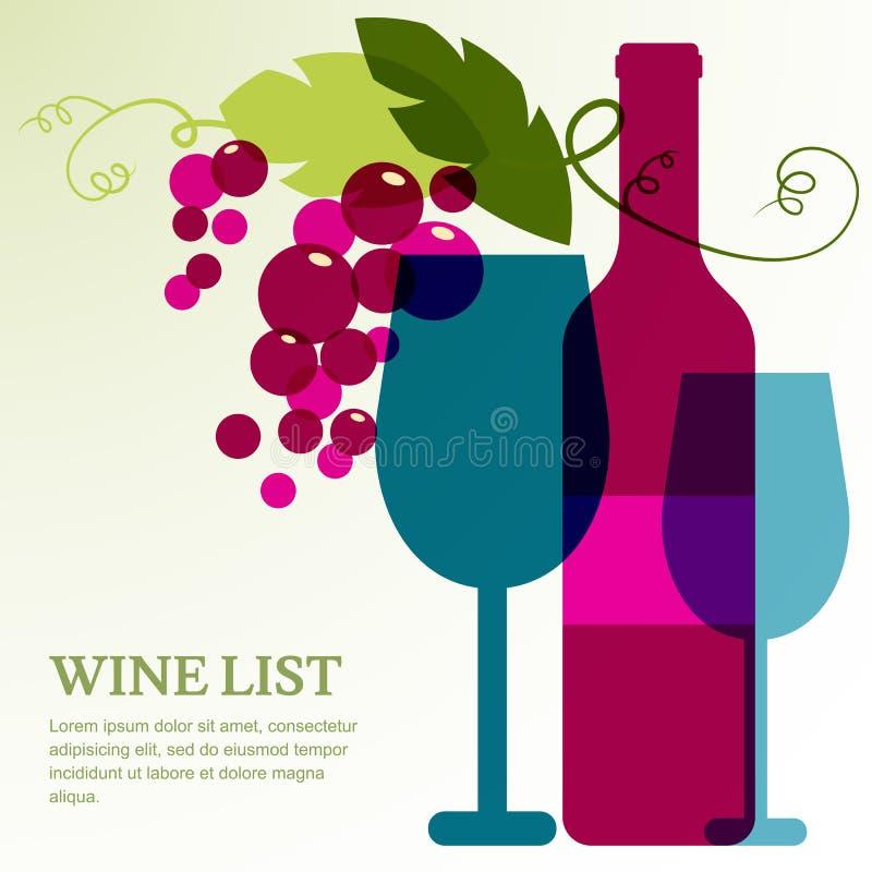 Bouteille, verre et branche de vin de raisin avec des feuilles illustration stock