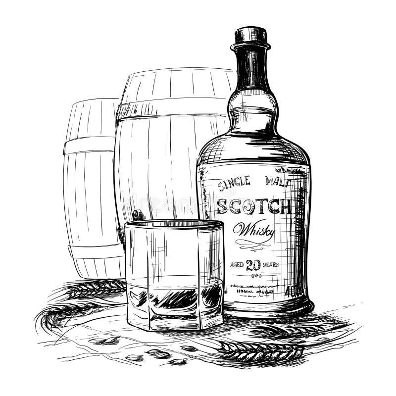 Bouteille, verre et tonneaux de whisky écossais avec quelques oreilles et grains d'orge Dessin noir et blanc de style d'encre d'i illustration de vecteur