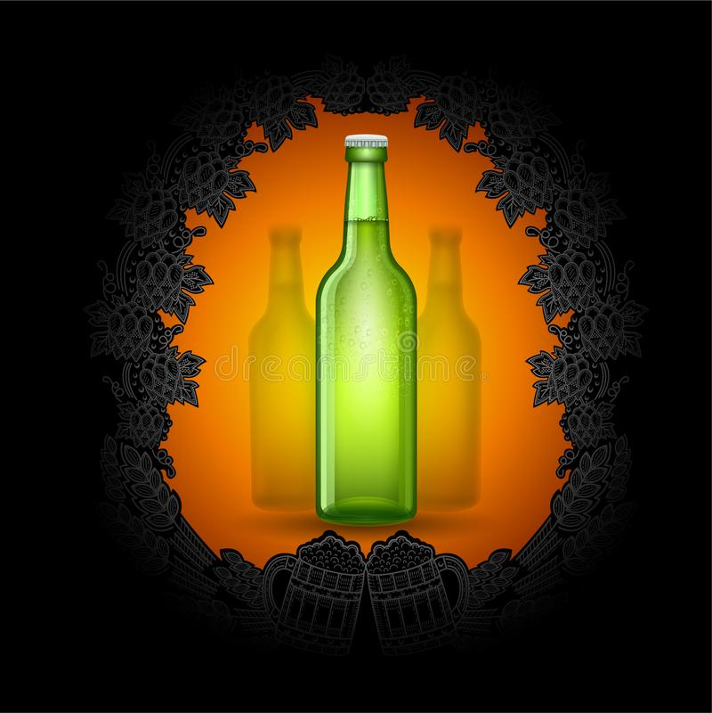 Bouteille verte de bière réaliste au centre du tableau noir avec le cadre argenté de style du contre d'houblon, épis illustration libre de droits