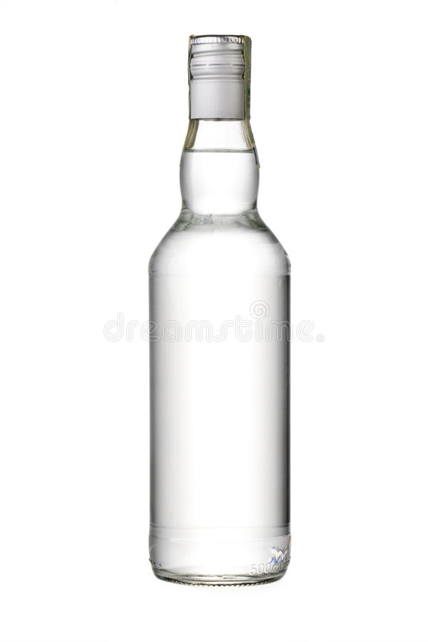 Bouteille vide de vodka images libres de droits