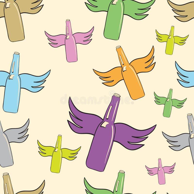 Bouteilles à ailes sans couture illustration de vecteur