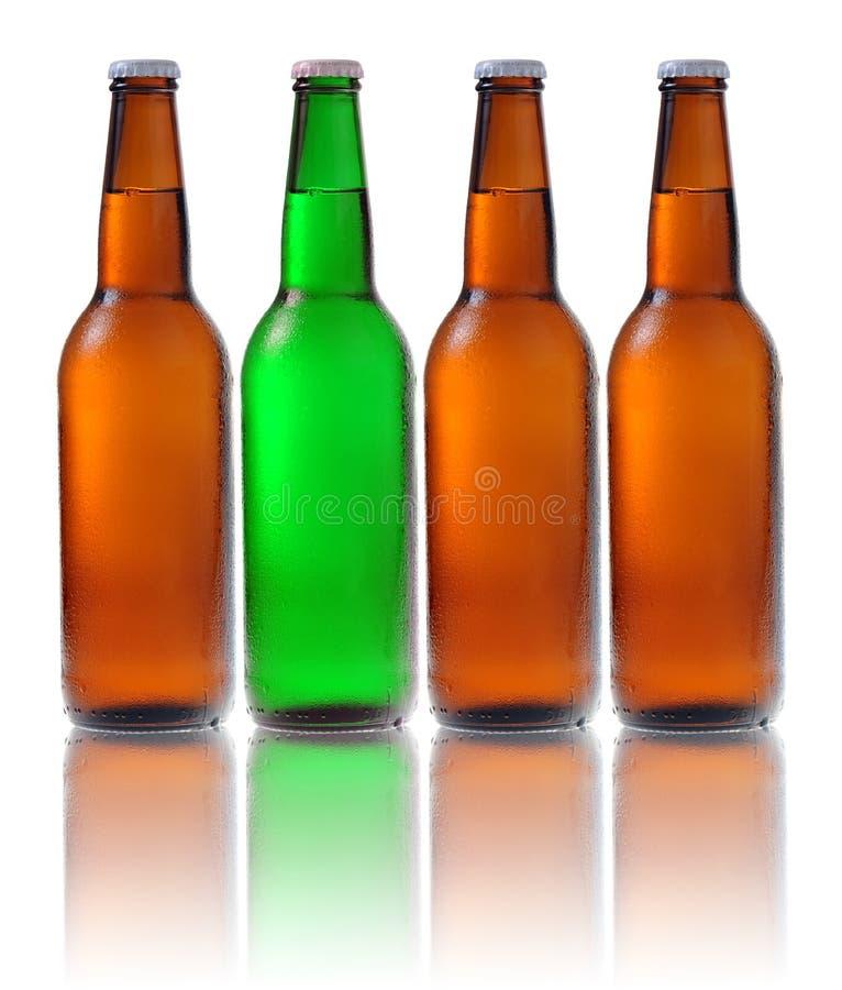 Bouteilles à bière d'isolement sur le fond blanc images stock