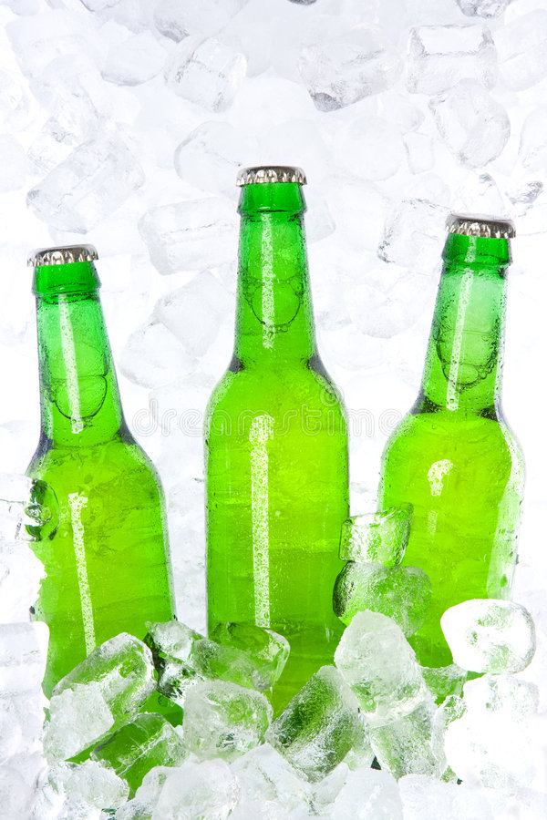Bouteilles à bière vertes photographie stock libre de droits