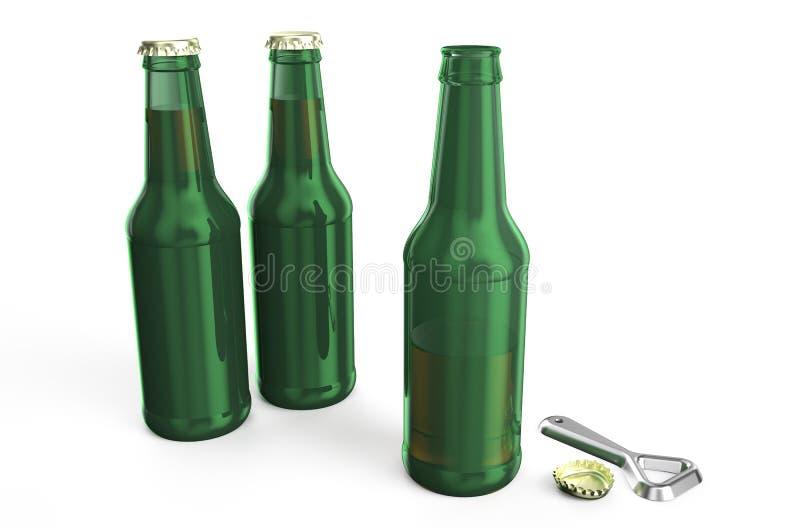 Bouteilles à bière vertes avec l'ouvreur illustration stock