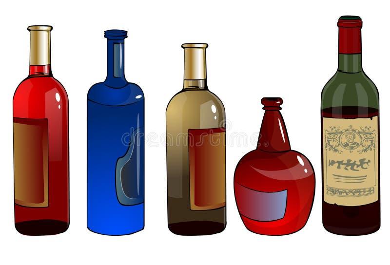 Bouteilles avec de l'alcool illustration libre de droits