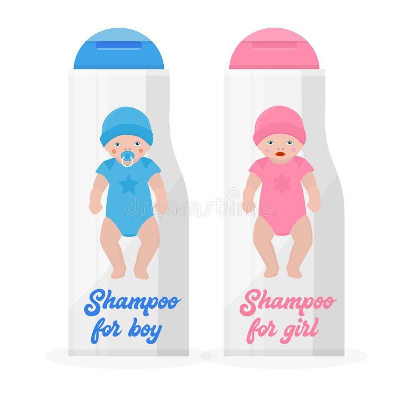 Bouteilles avec l'illustration de vecteur de bannière de shampooing de bébé Garçon et fille dans l'habillement et le chapeau bleu illustration stock