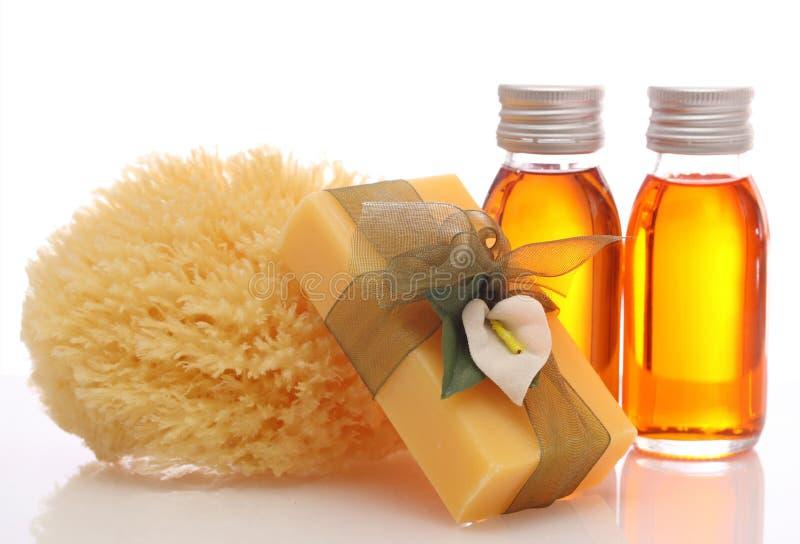 Bouteilles avec les huiles essentielles photographie stock