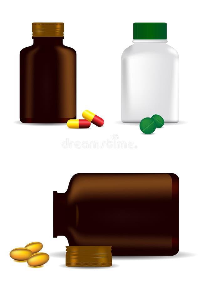 Bouteilles, capsules et pillules de médecine illustration libre de droits