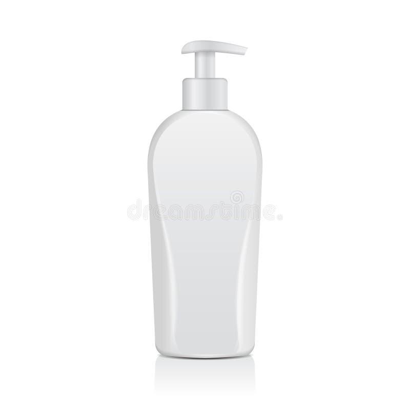 Bouteilles cosmétiques blanches réalistes Tube ou récipient pour la crème, onguent, lotion Fiole cosmétique pour le shampooing, s illustration de vecteur