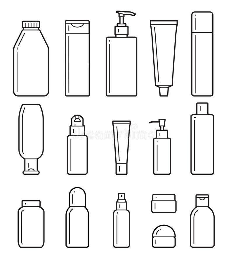 Bouteilles cosmétiques Icônes plates illustration de vecteur