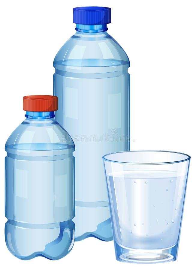 Bouteilles d'eau et verre avec de l'eau potable  illustration libre de droits