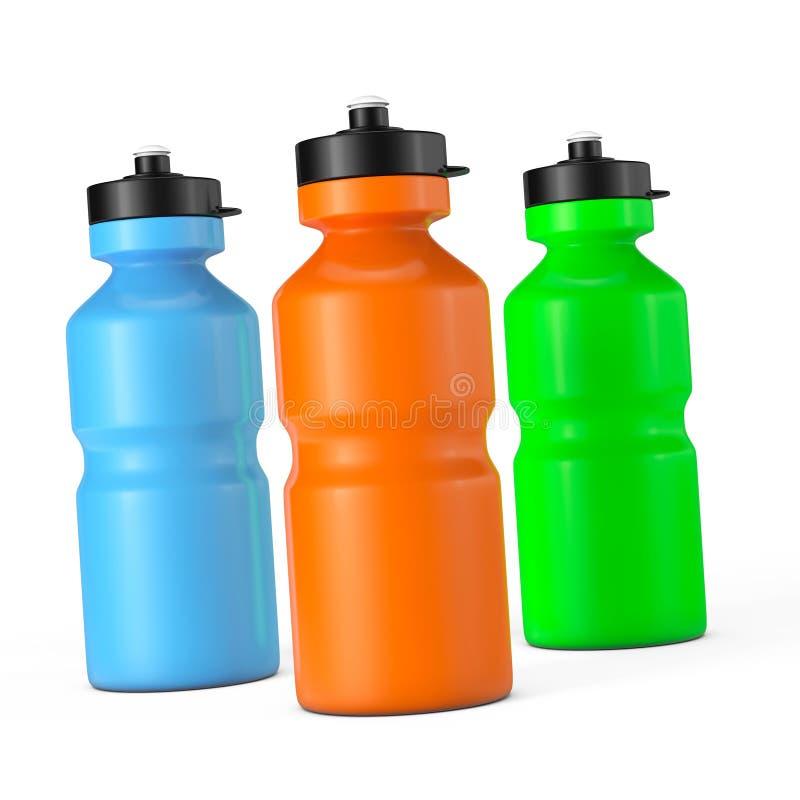 Bouteilles d'eau multicolores de plastique de sport illustration stock