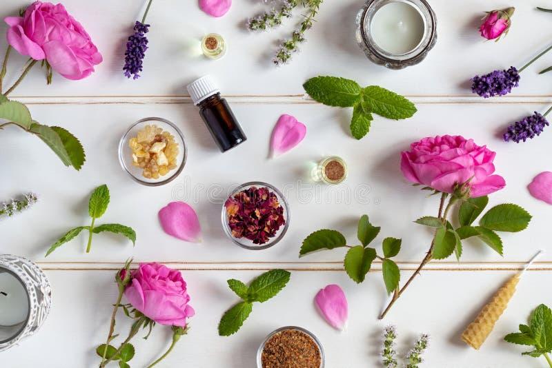 Bouteilles d'huile essentielle avec les roses, la menthe poivrée, la lavande et l'ot images stock