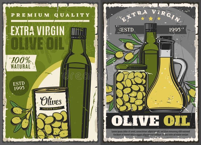Bouteilles d'huile d'olive, fruits verts marinés boîte ou pot illustration stock