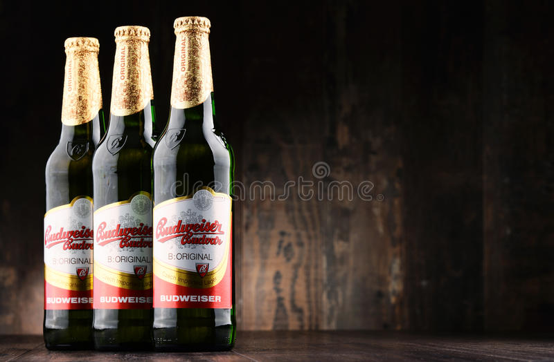 Bouteilles de bière de Budweiser Budvar images stock