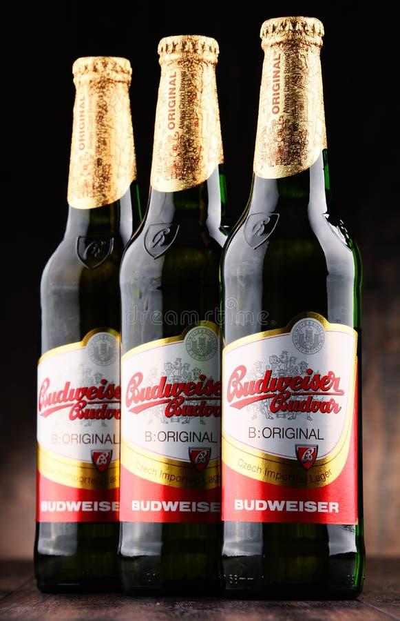 Bouteilles de bière de Budweiser Budvar image stock