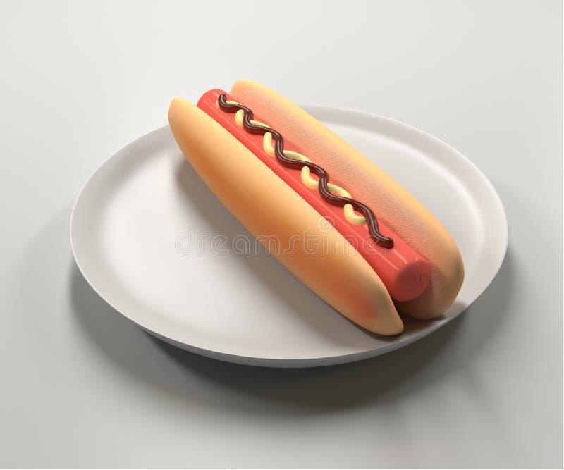 Bouteilles de ketchup et de moutarde à l'arrière-plan illustration stock
