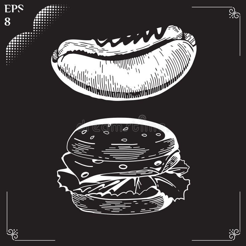 Bouteilles de ketchup et de moutarde à l'arrière-plan hamburger Aliments de préparation rapide illustration stock