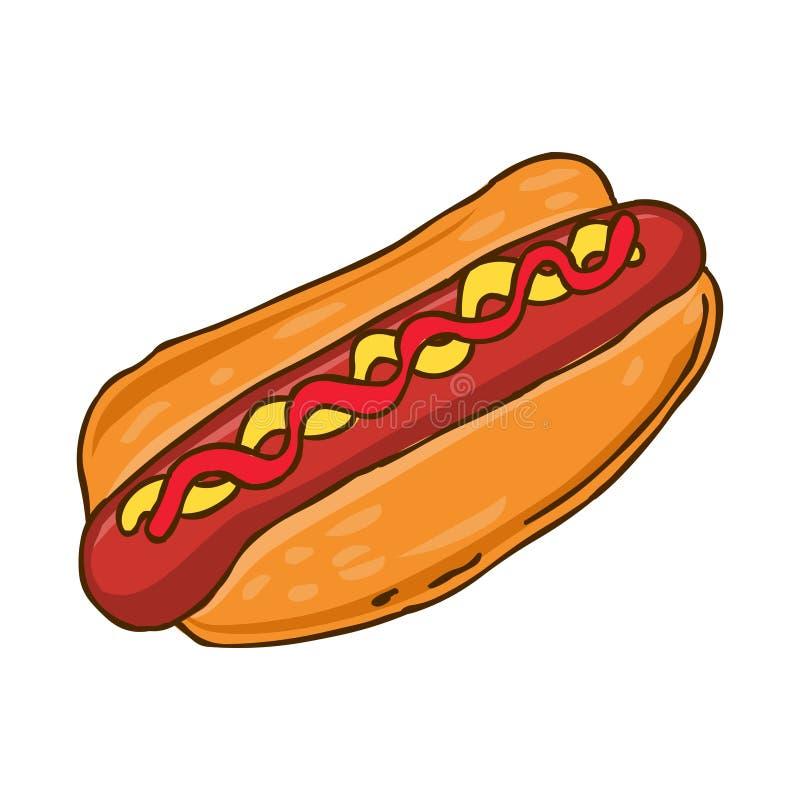 Bouteilles de ketchup et de moutarde à l'arrière-plan Illustration de nourriture de viande illustration stock