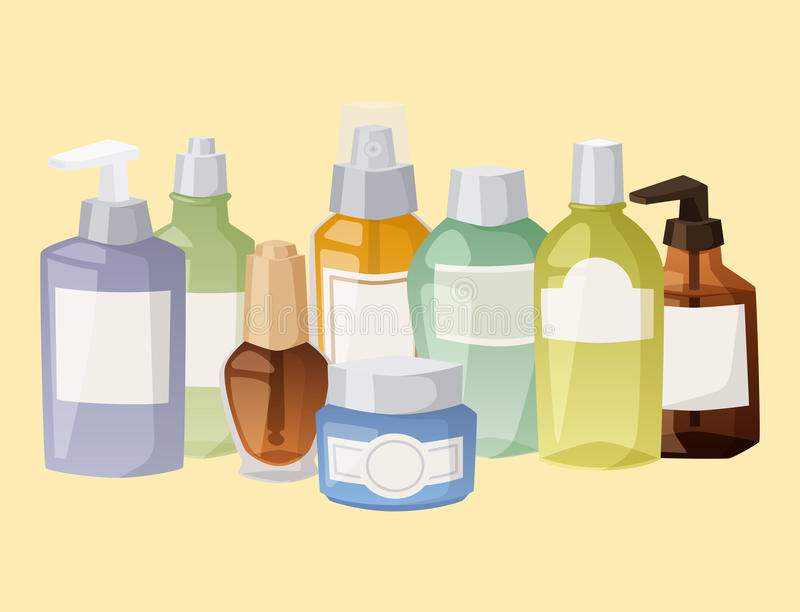 Bouteilles de l'illustration liquide de vecteur de paquet de cosmétologie de lotion de maquillage de récipient crème liquide en p illustration de vecteur