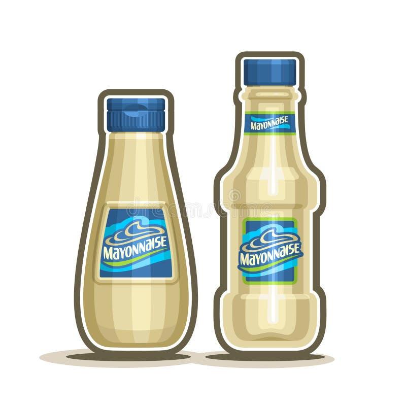 Bouteilles de mayonnaise de logo de vecteur illustration de vecteur