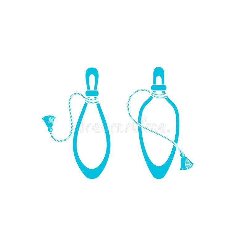 Bouteilles de parfum avec des icônes de gland, silhouette illustration stock