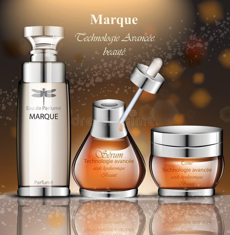 Bouteilles de parfum de femmes Les conceptions d'emballage réalistes de produit de vecteur raillent  illustration de vecteur