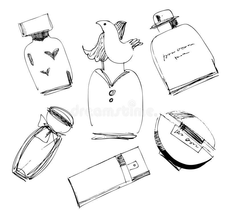 Bouteilles de parfum réglées. illustration de vecteur