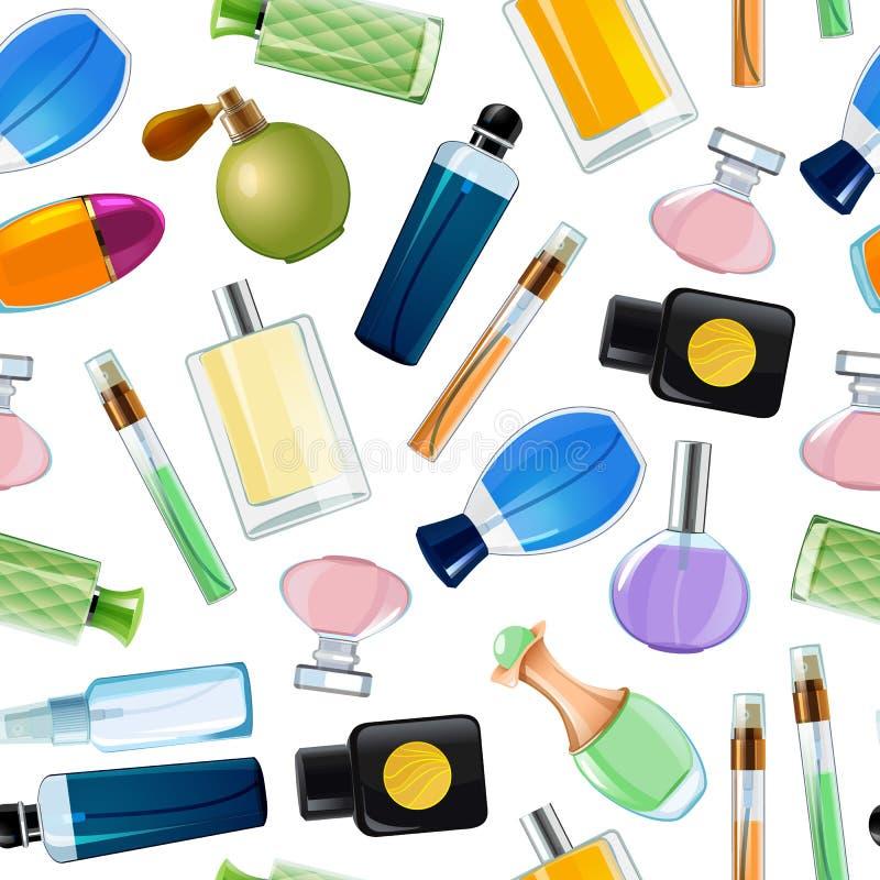 Bouteilles de parfum de vecteur modèle ou illustration de fond illustration libre de droits