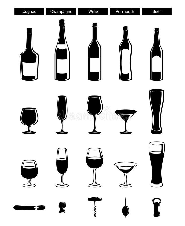 Bouteilles de vin avec le point culminant, verres à vin illustration libre de droits