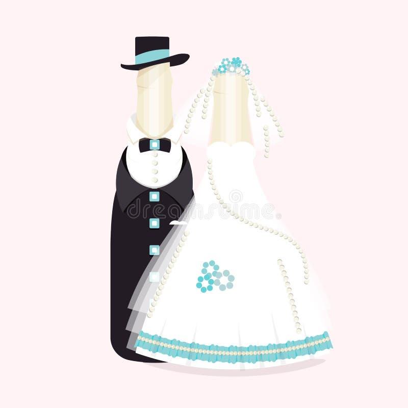 Bouteilles de vin, champagne dans les costumes des nouveaux mariés Conception élégante de mariage Souvenirs abstraits de marié et illustration stock