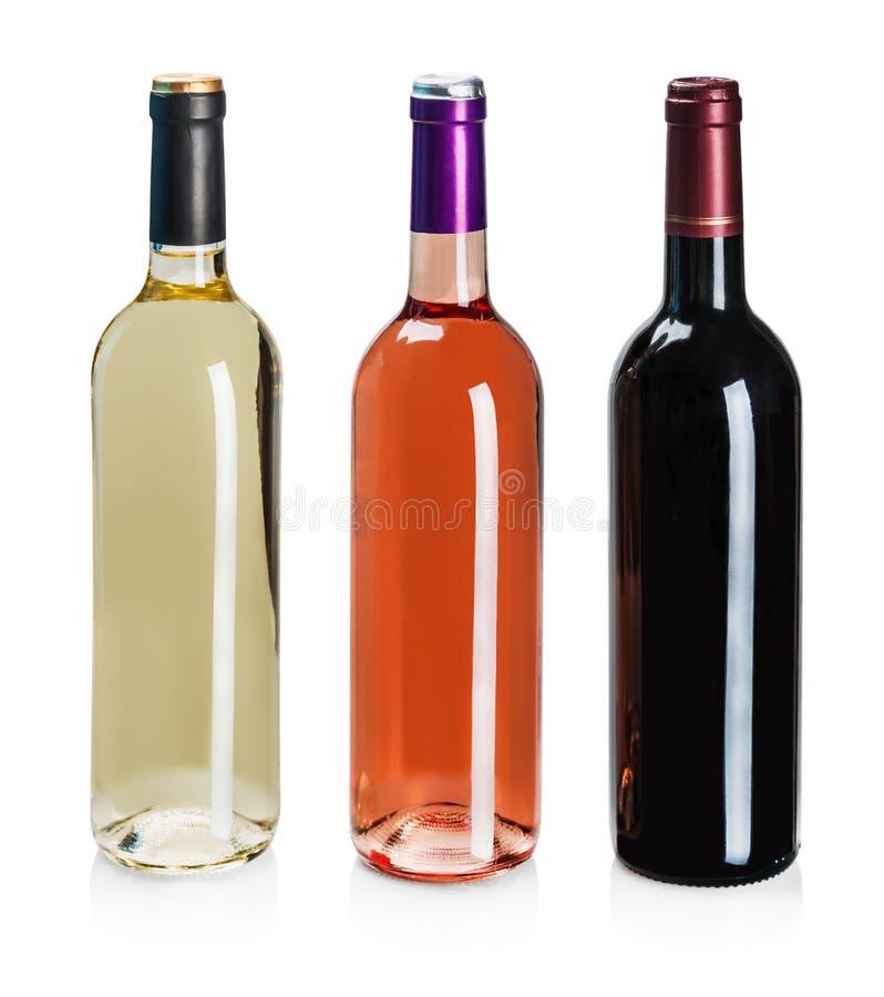 Bouteilles de vin de différents types photo stock