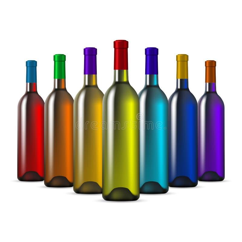 Bouteilles de vin en verre de couleur illustration stock