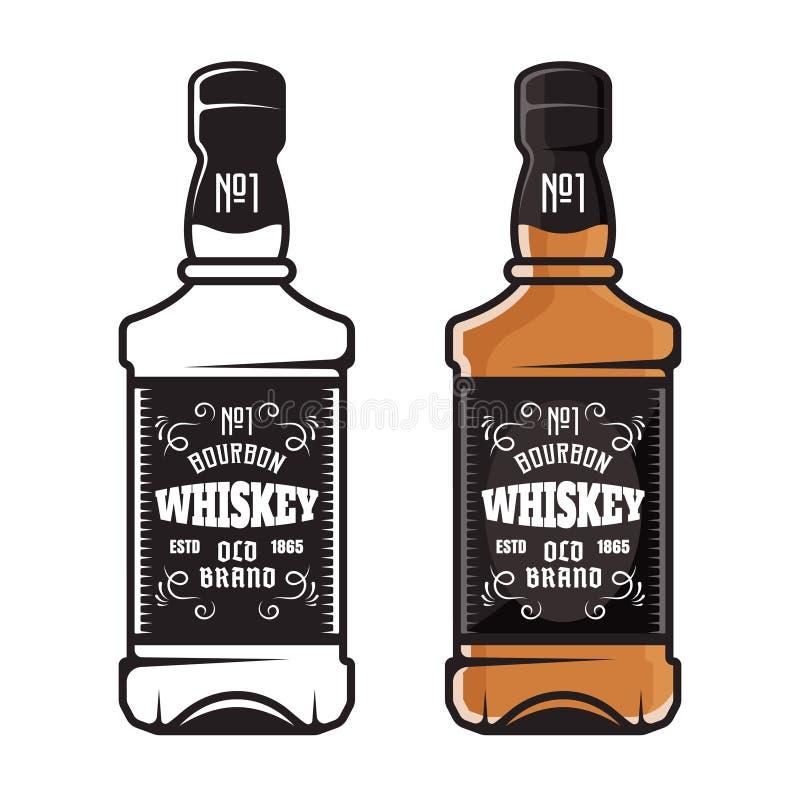 Bouteilles de whiskey deux styles colorés et noirs illustration stock